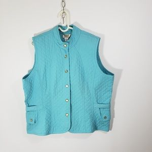 Talbots Women's Quilted Turquoise Vest Sz 1X